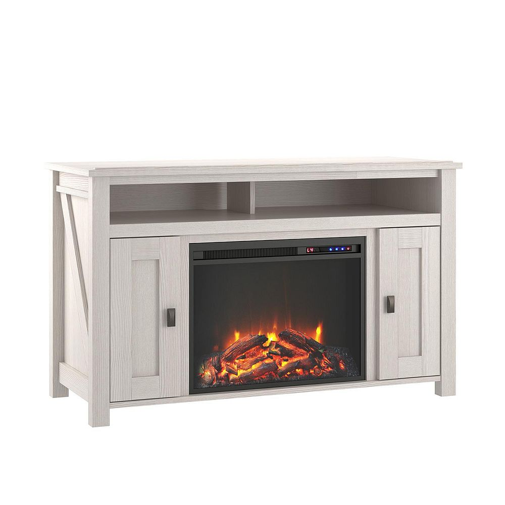 "Dorel Farmington Electric Fireplace TV Console for TVs up to 50"", Ivory Oak"
