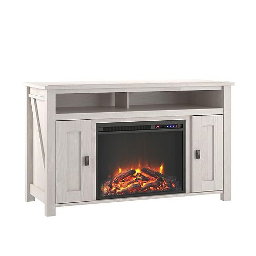 """Farmington Electric Fireplace TV Console for TVs up to 50"""", Ivory Oak"""