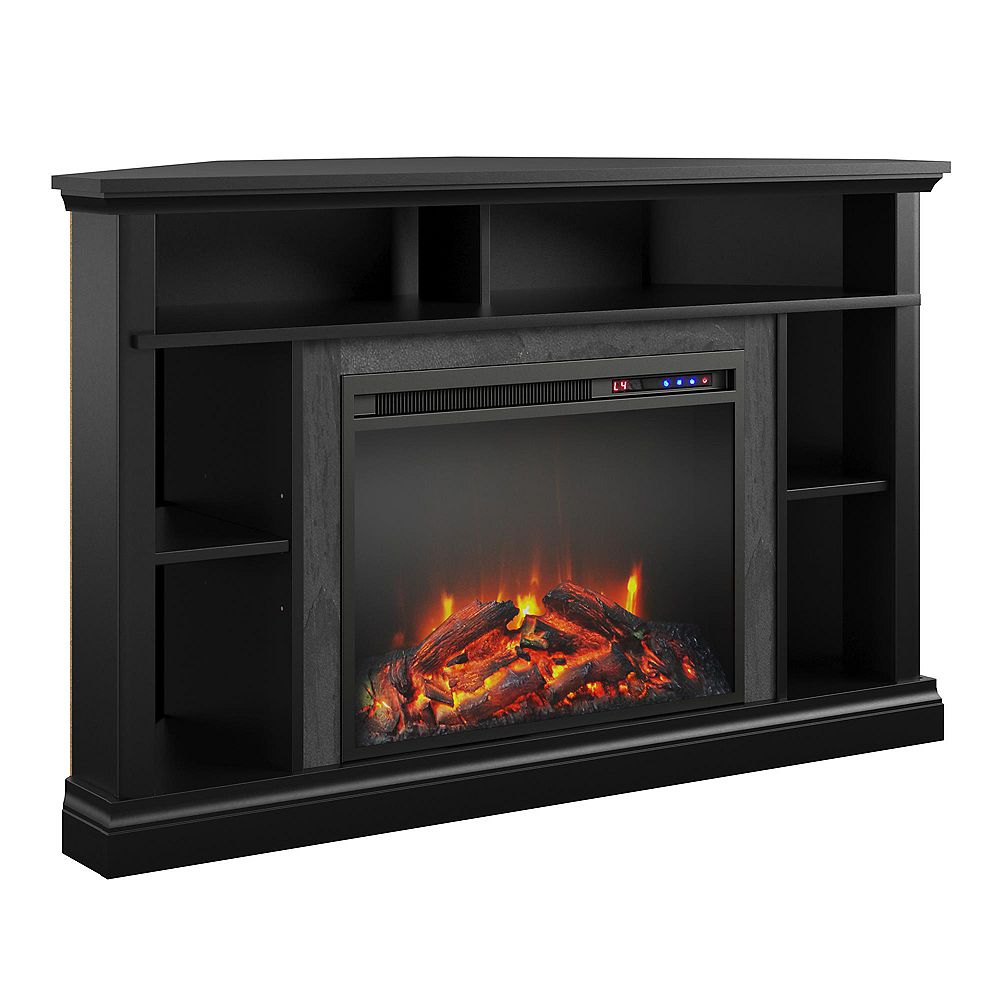"Dorel Overland Electric Corner Fireplace for TVs up to 50"", Black"