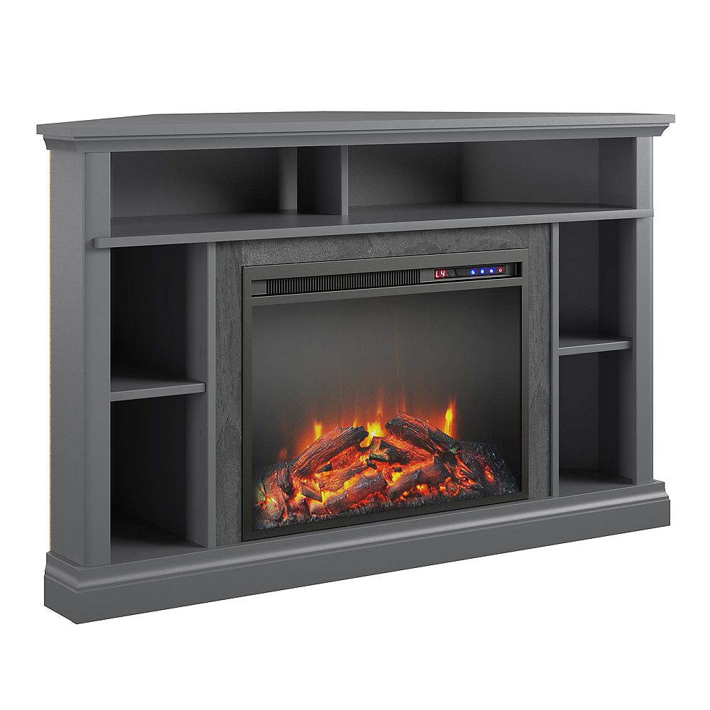 """Dorel Overland Electric Corner Fireplace for TVs up to 50"""", Graphite Gray"""