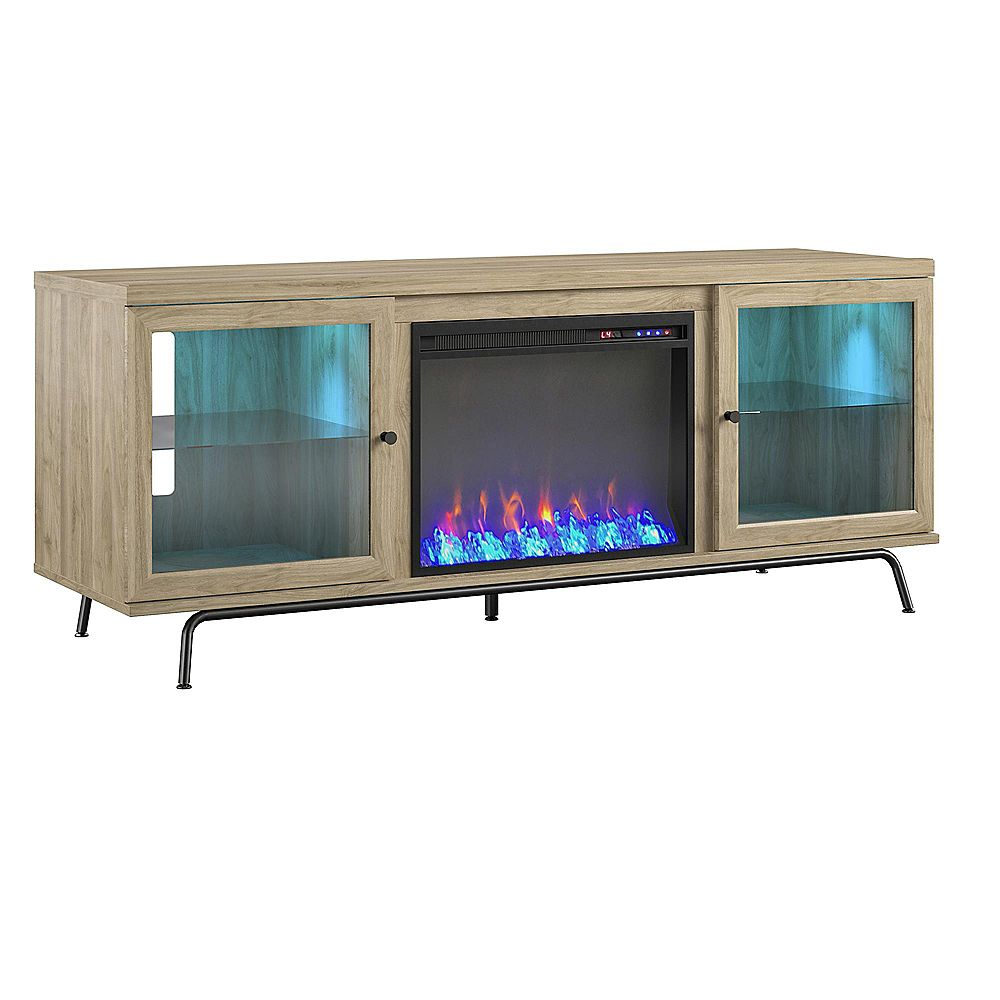 """Dorel Sydney View Fireplace TV Stand for TVs up to 70"""", Blonde Oak"""
