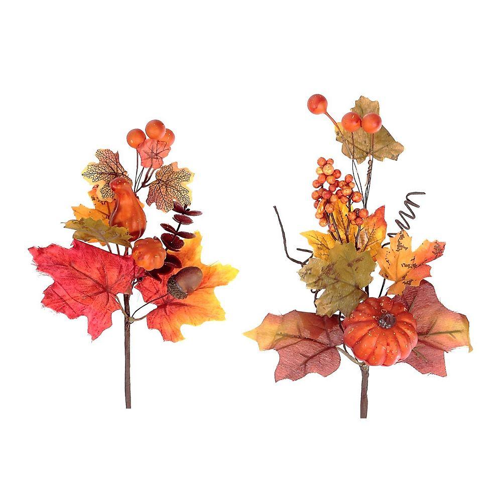 IH Casa Decor Pumpkin Squash And Maple Leaves Pick (Asstd)
