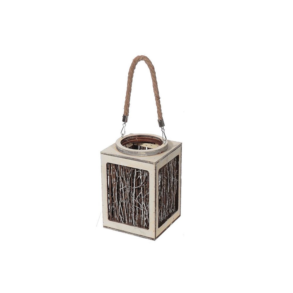 IH Casa Decor Square Natural Twig Branch Hanging Lantern (Large)