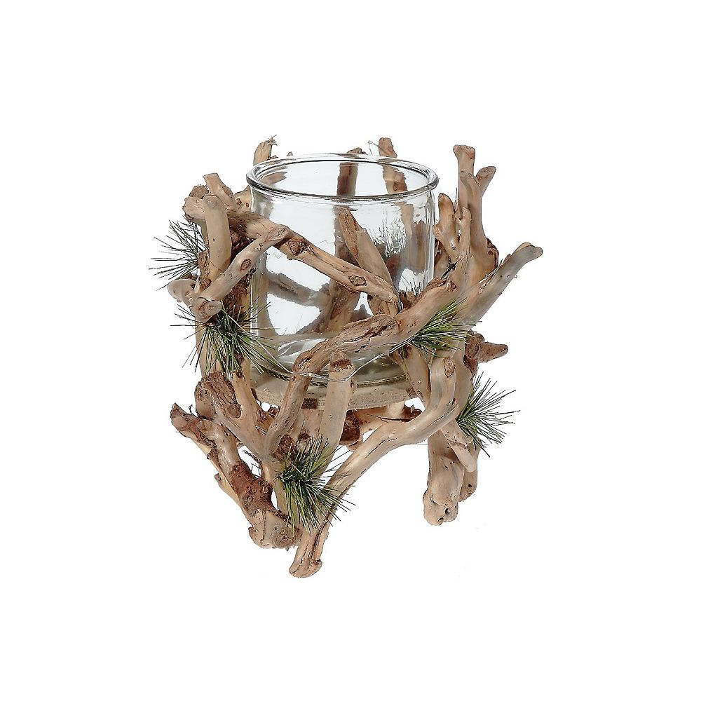 IH Casa Decor Led Cotton Root And Pine Needle Candle Holder (Large)