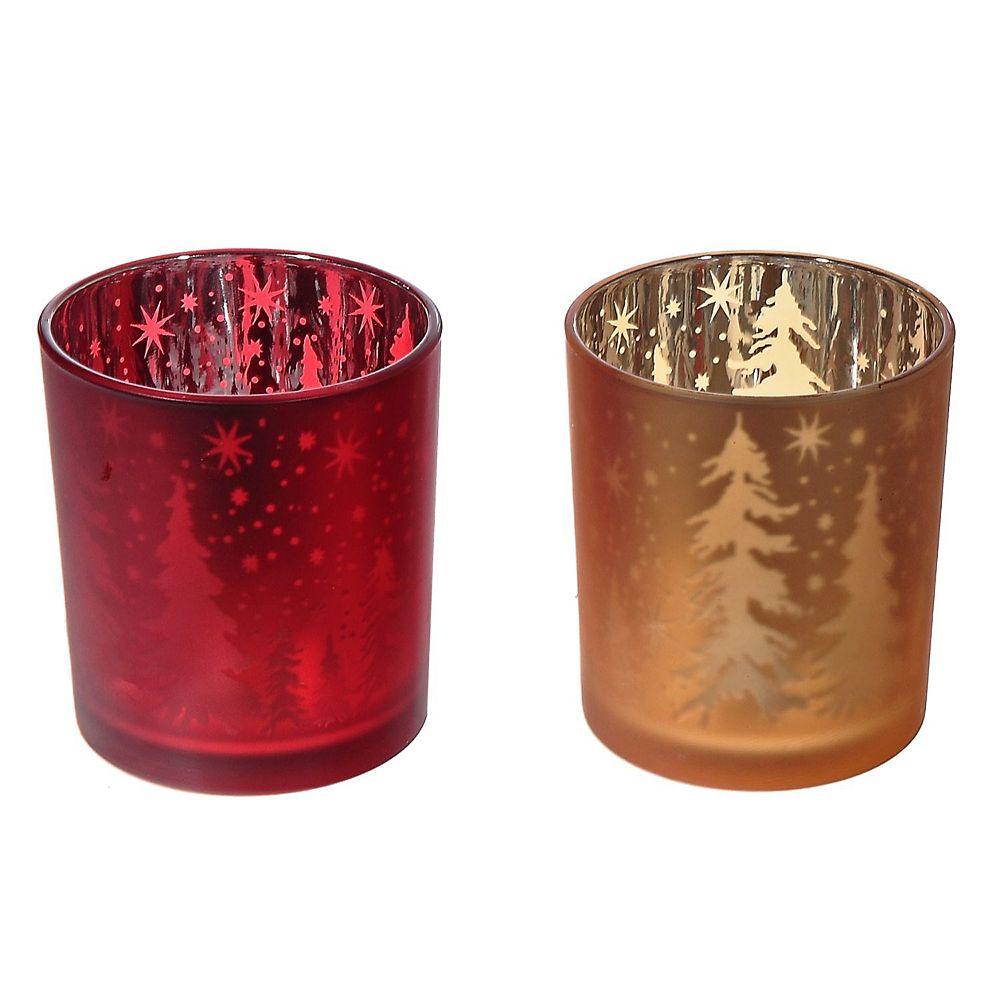 IH Casa Decor Frosted Glass Votive Holder (Trees) (Asstd)