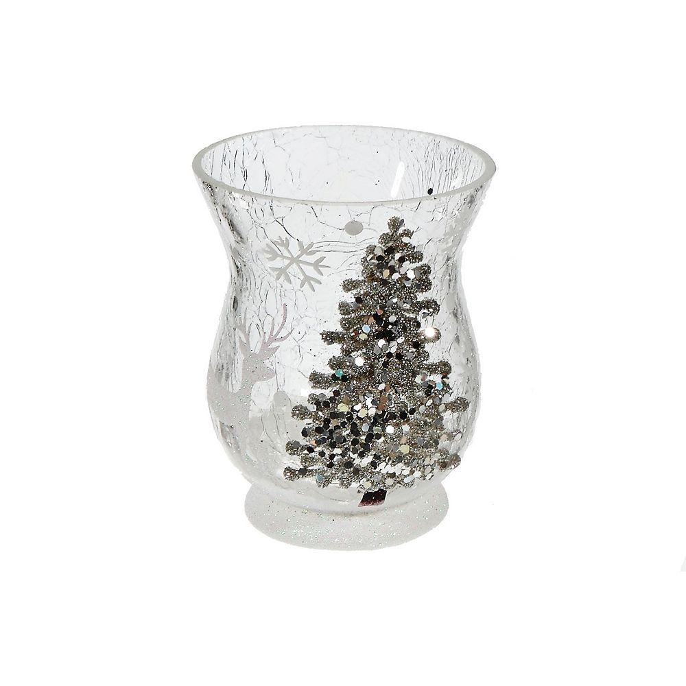 IH Casa Decor Shimmery Tree Hurricane Glass Candle Holder