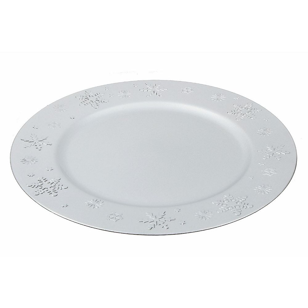 IH Casa Decor Charger Plate (Snowflake) (Silver)