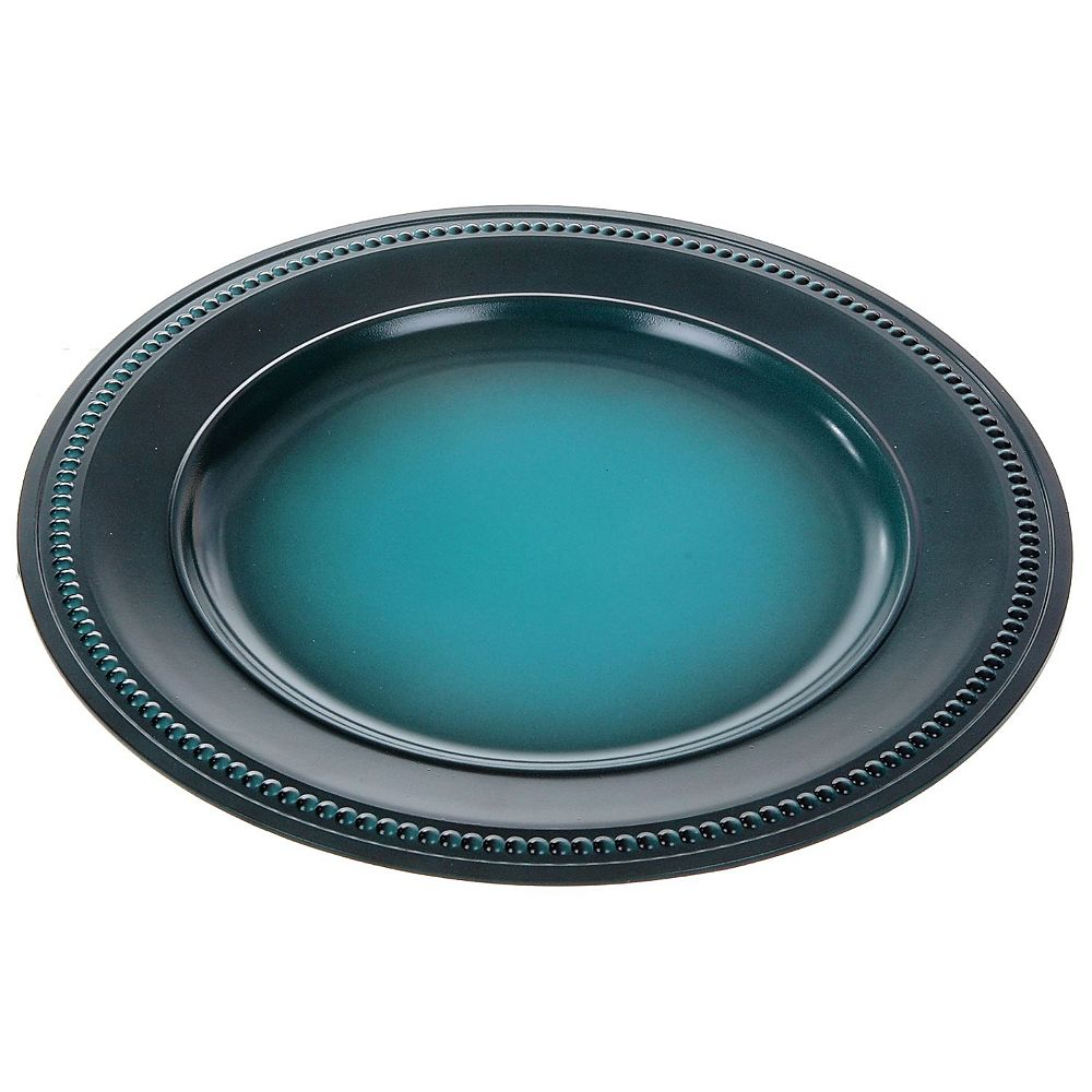 "IH Casa Decor Charger Plate (Beaded) (Teal Brushed) (13"")"