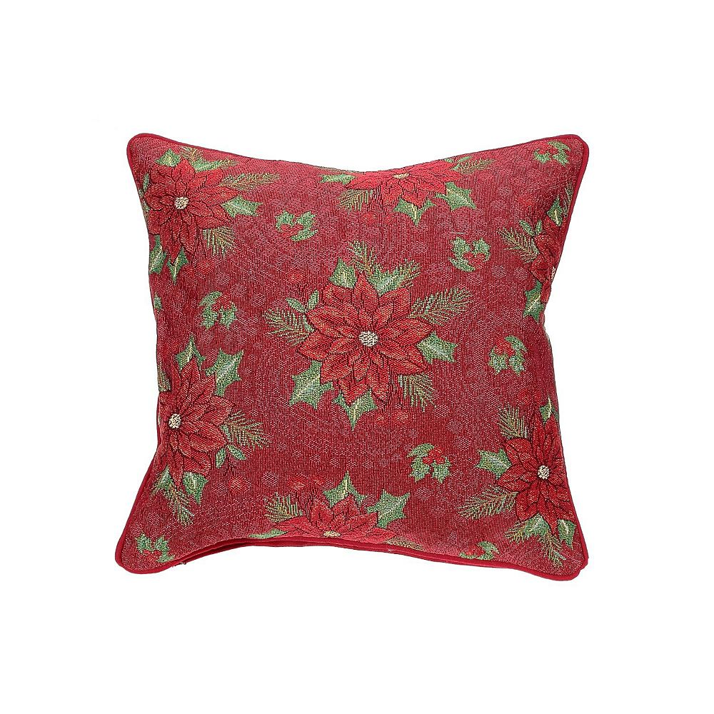 IH Casa Decor Tapestry Cushion (Poinsettia Print)
