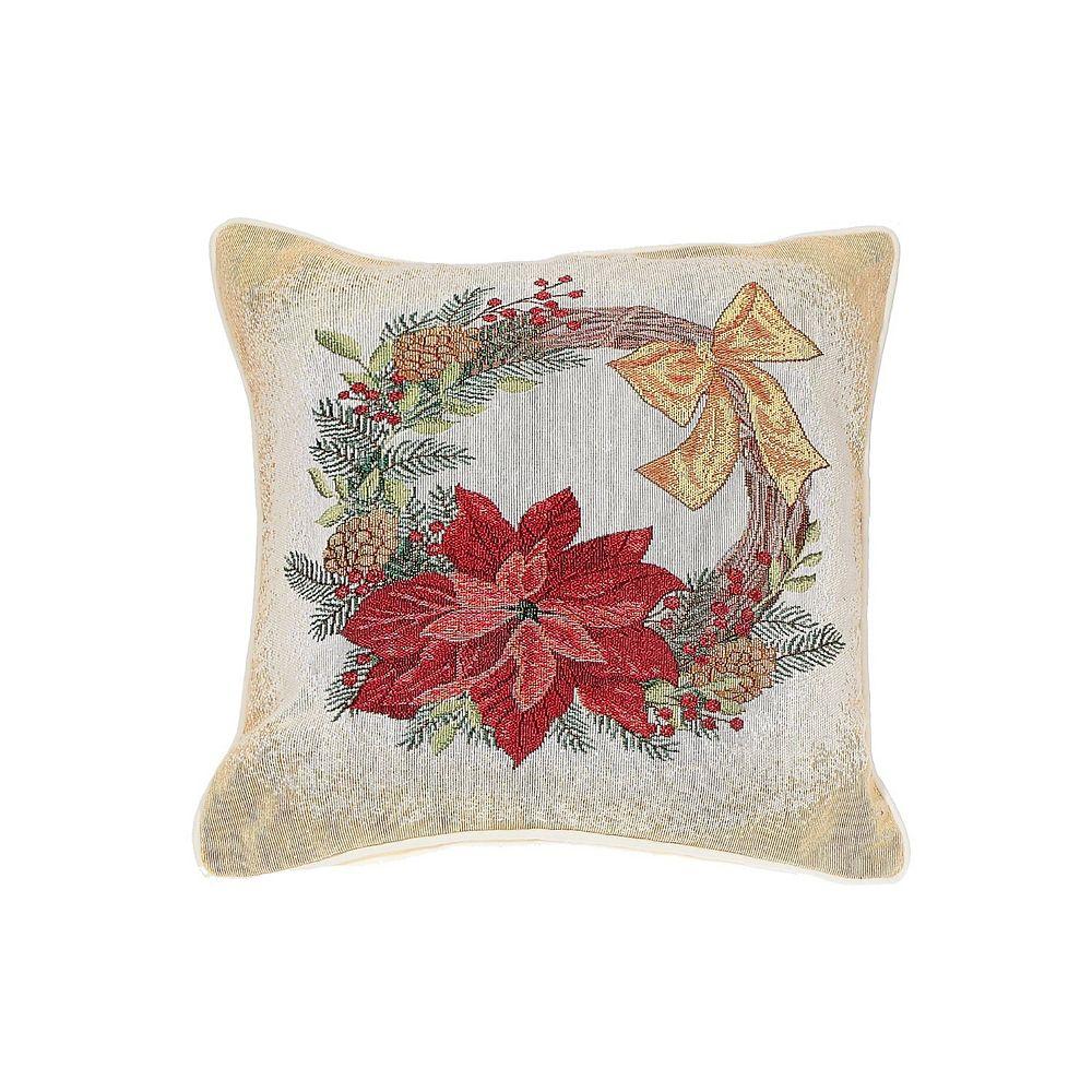IH Casa Decor Tapestry Cushion (Poinsettia Wreath)