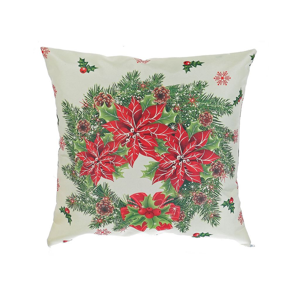 IH Casa Decor Polyester Digital Print Cushion (Poinsettia Wreath)