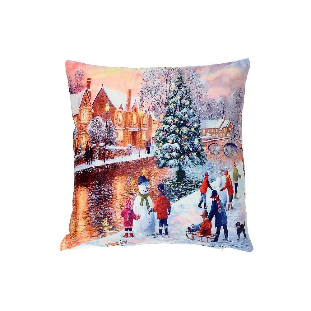 IH Casa Decor Led Velvet Cushion (Children Playing In Snow)