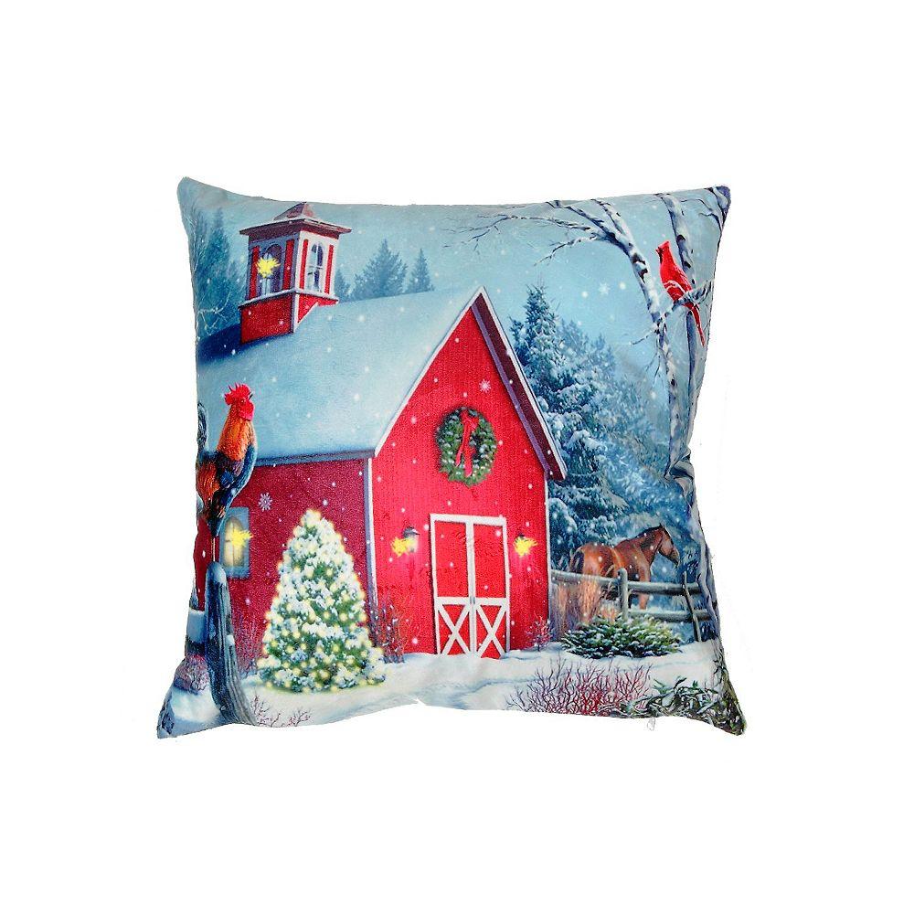 IH Casa Decor Led Velvet Cushion (Red Barn)