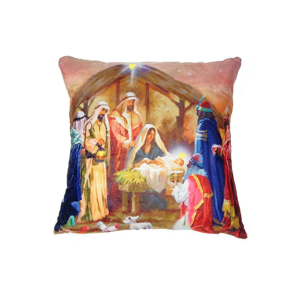 IH Casa Decor Led Velvet Cushion (Nativity With 3 Wise Men)