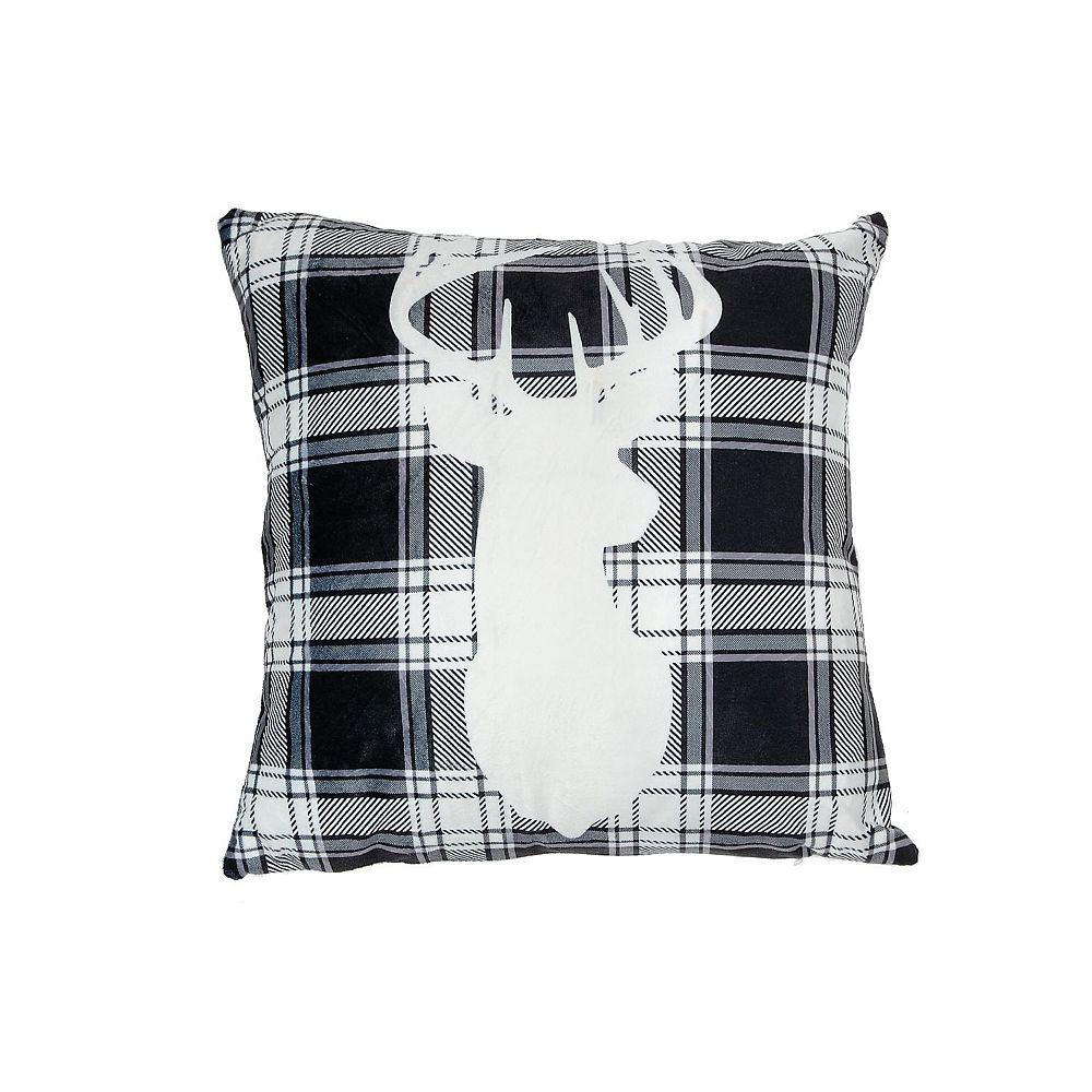 IH Casa Decor Led Velvet Cushion (White Buffalo Reindeer)