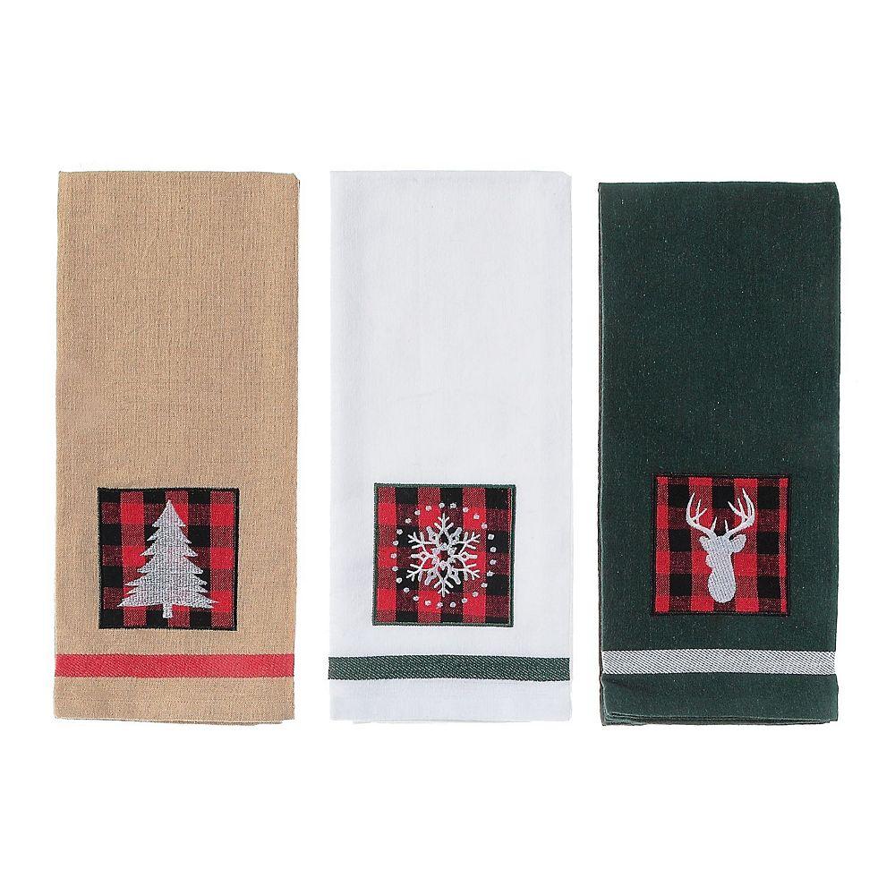 IH Casa Decor Embedded Buffalo Print On Solid Cotton Kitchen Towel (Asstd)