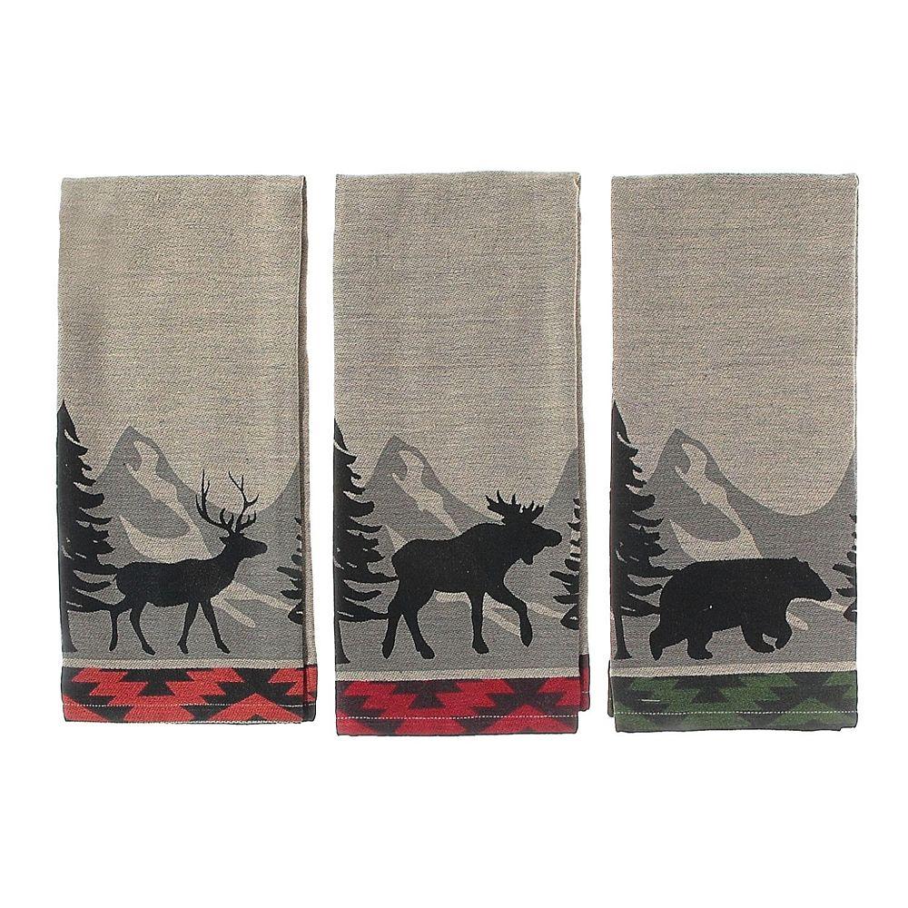 IH Casa Decor Forest Animal Chambray Woven Kitchen Towel (Asstd)