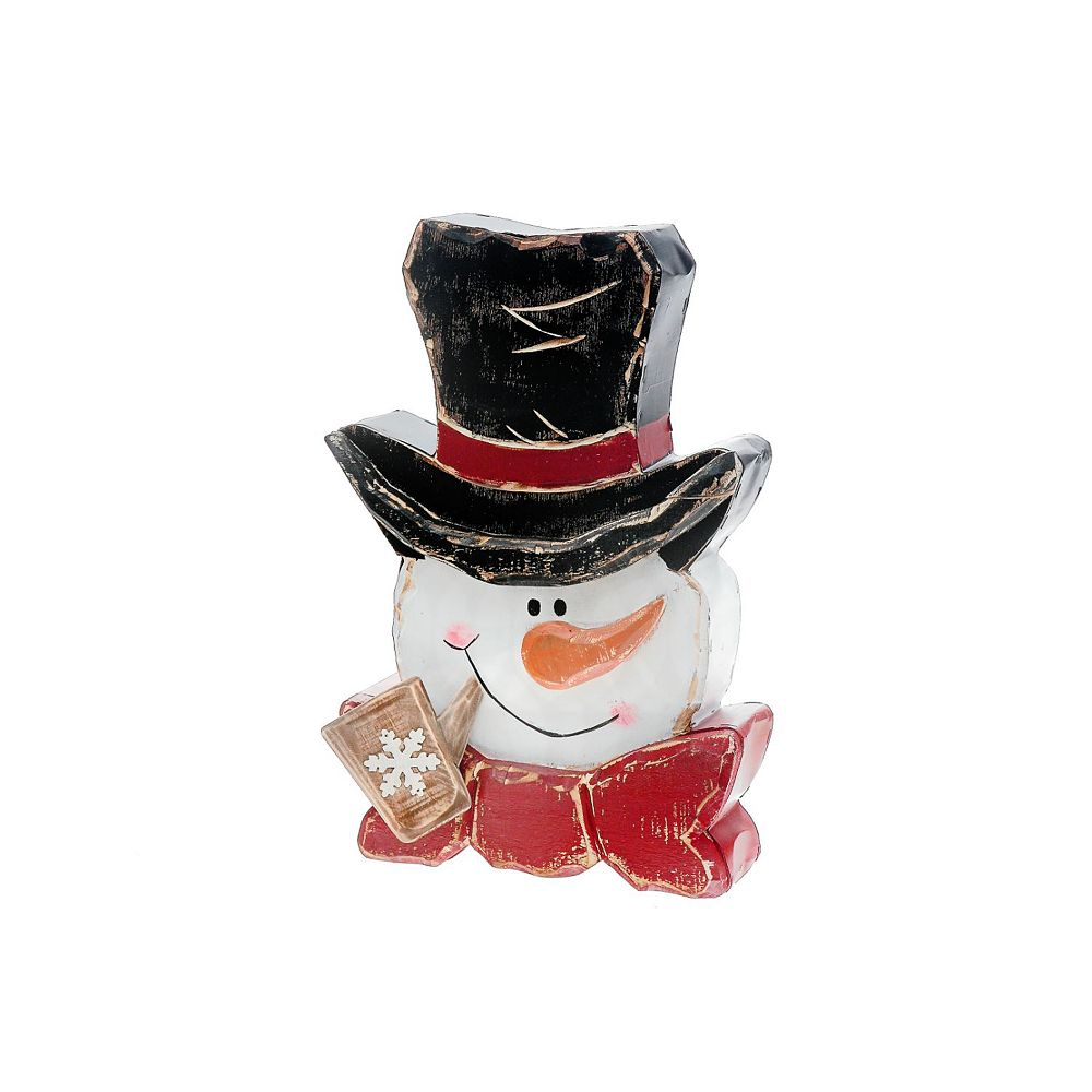 IH Casa Decor Wood Snowman Head With Pipe Figurine Stand