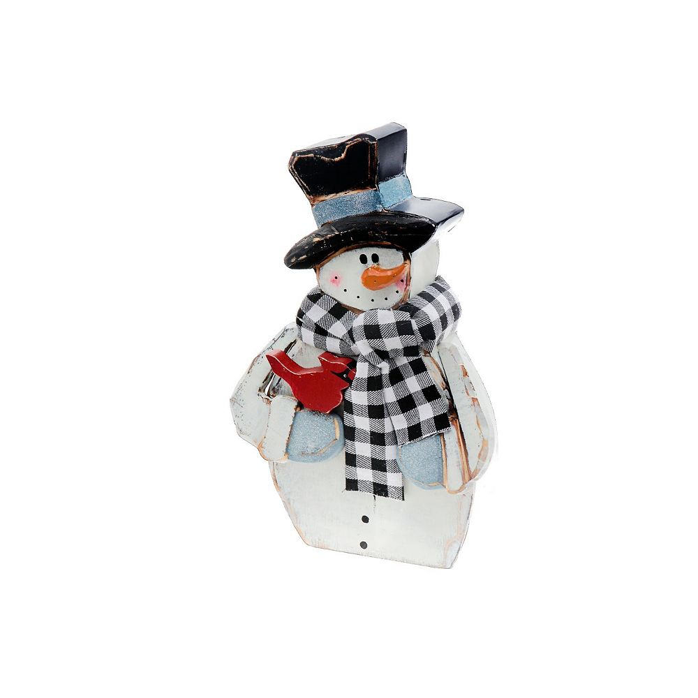 IH Casa Decor Wood Snowman And Cardinal Figurine Stand
