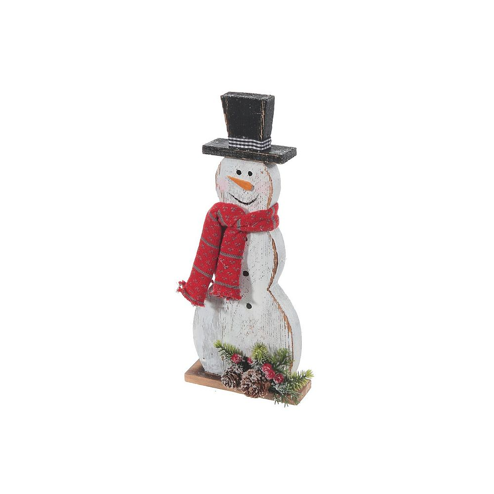 IH Casa Decor Wooden Snowman Figurine With Pine Needle Decor