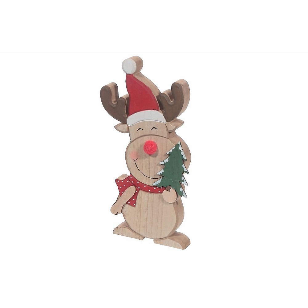 IH Casa Decor Wooden tabletop Figurine (Reindeer Holding Tree) (Large)