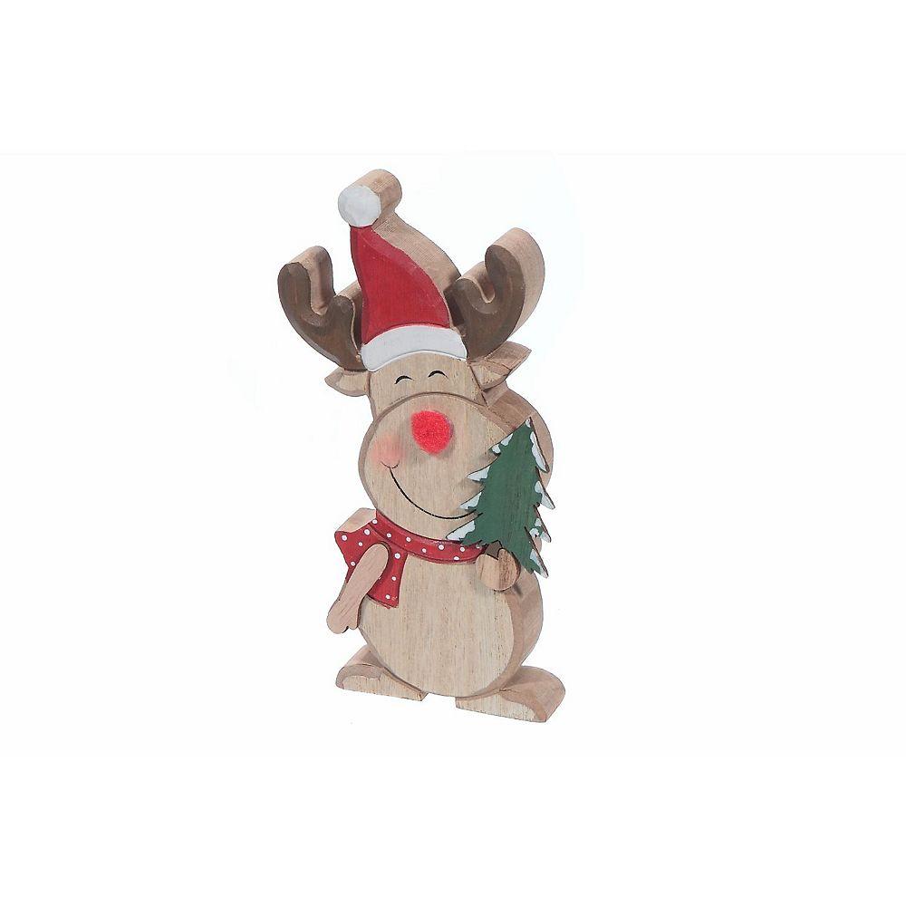 IH Casa Decor Wooden tabletop Figurine (Reindeer Holding Tree) (Small)