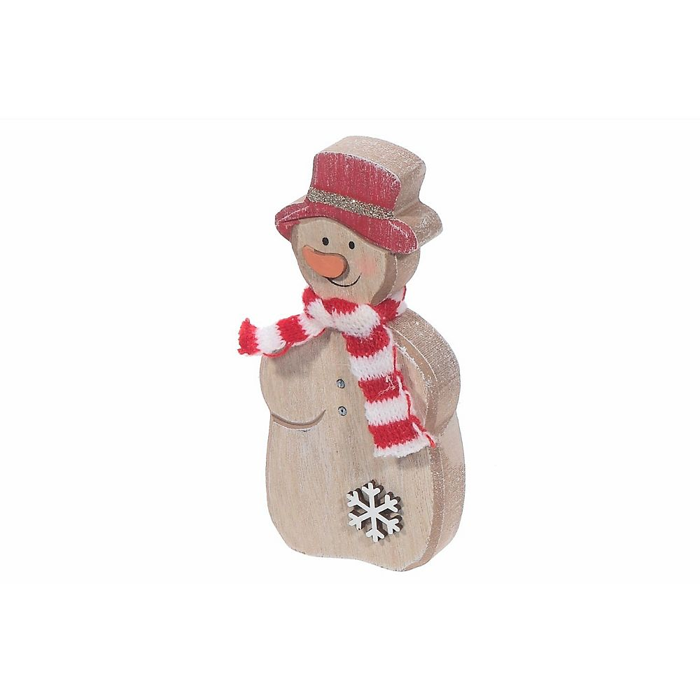 IH Casa Decor Wooden tabletop Figurine (Snowman With Scarf) (Small)