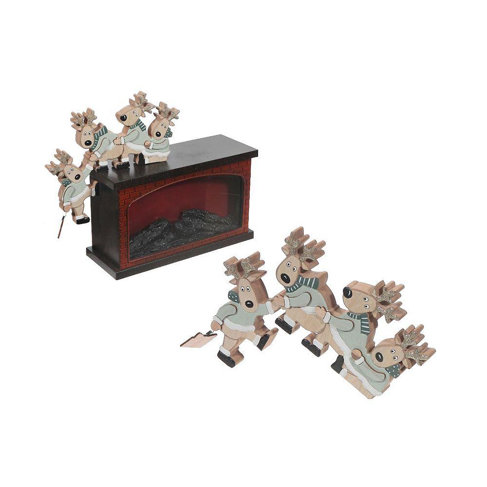 IH Casa Decor Wooden Shelf Hanger (Reindeer Saving Present)