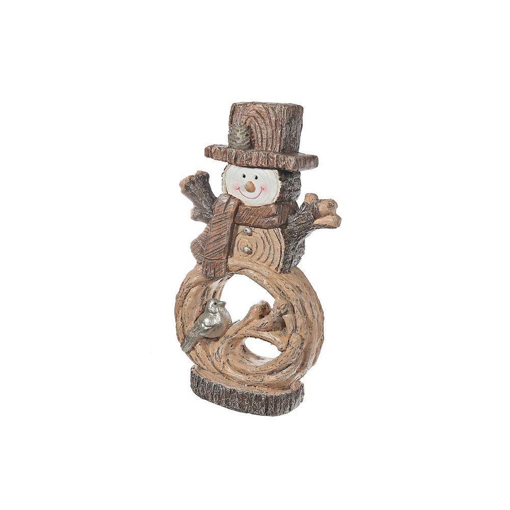 IH Casa Decor Led Magnesia Snowman With Bird Figurine