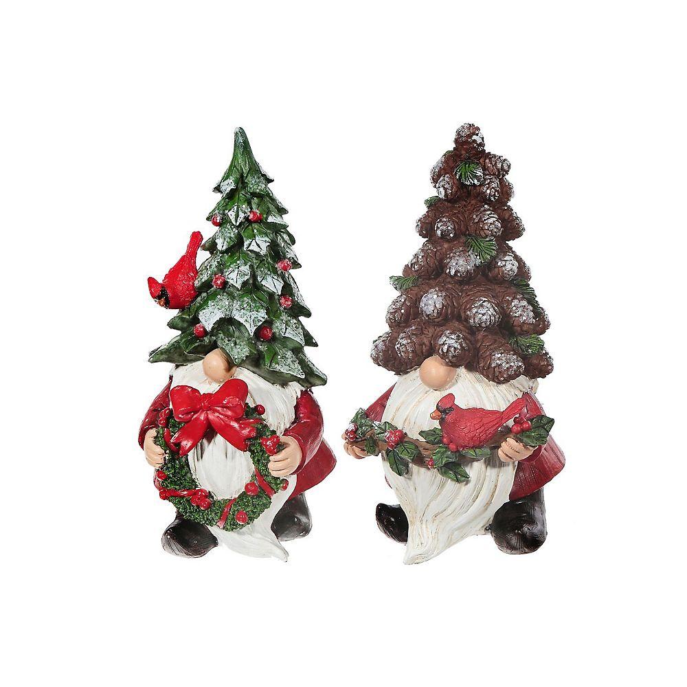 IH Casa Decor Polyresin Gnome With Pinecone/Tree Hat Figurine (Asstd)