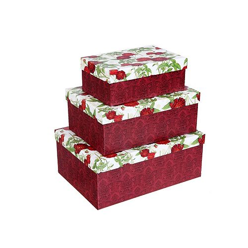 Rectangular Box (Red Peony) (Set Of 3)