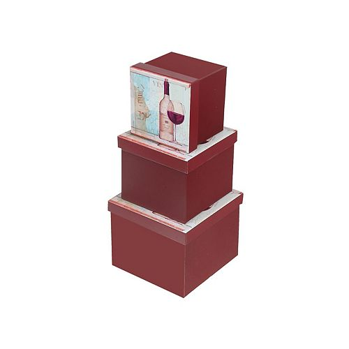 Square Box (Red Wine) (Set Of 3)