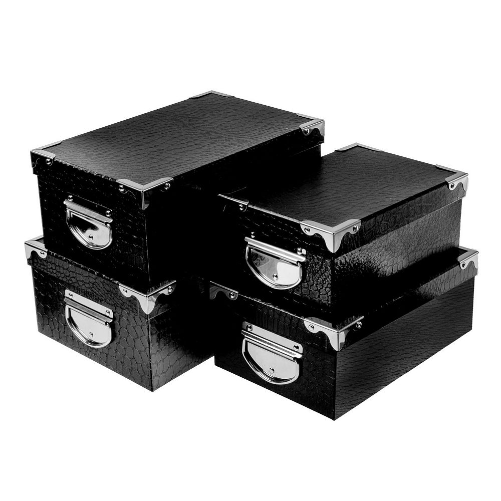 IH Casa Decor Rect. Nesting Boxes With Handle (Black) (Set Of 4)