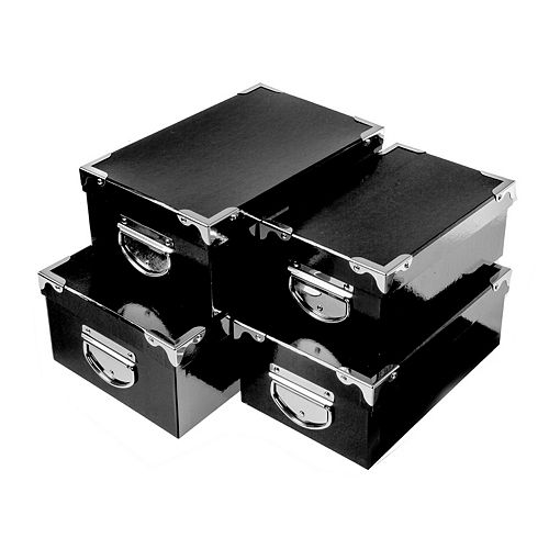 Rect. Nesting Boxes With Handle (Black Croc) (Set Of 4)