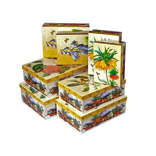 Rect. Nesting Boxes (Asstd Flowers) (Set Of 8)