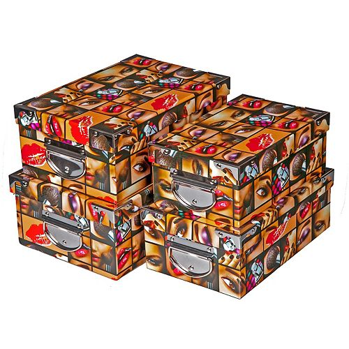 Rect. Nesting Boxes With Handle (Glam Girl) (Set Of 4)
