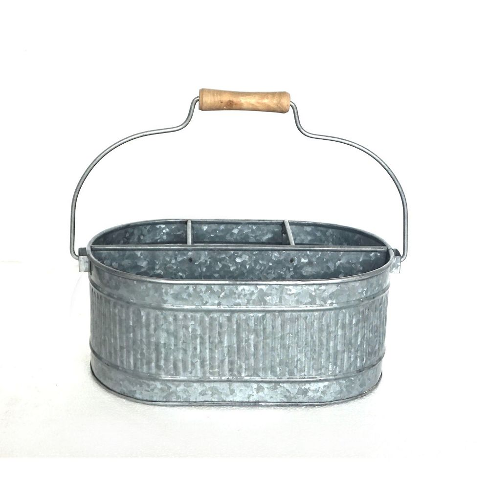 IH Casa Decor Galvanized Oval 4 Section Caddy With Wood Handle