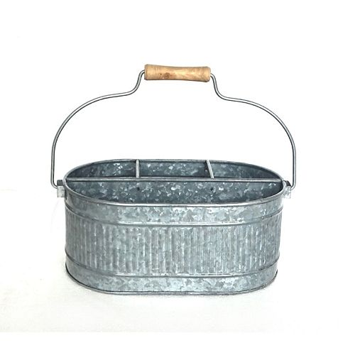 Galvanized Oval 4 Section Caddy With Wood Handle