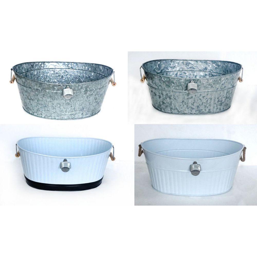 IH Casa Decor Assorted Galvanized Oval Bucket With Beer Opener