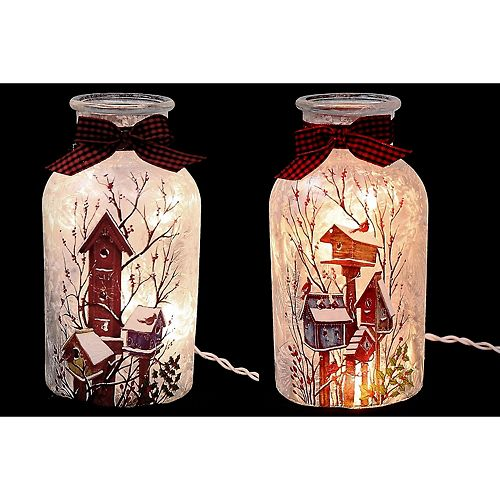 Led Frosted Glass Jar With Ribbon (Birdhouses) (Asstd)