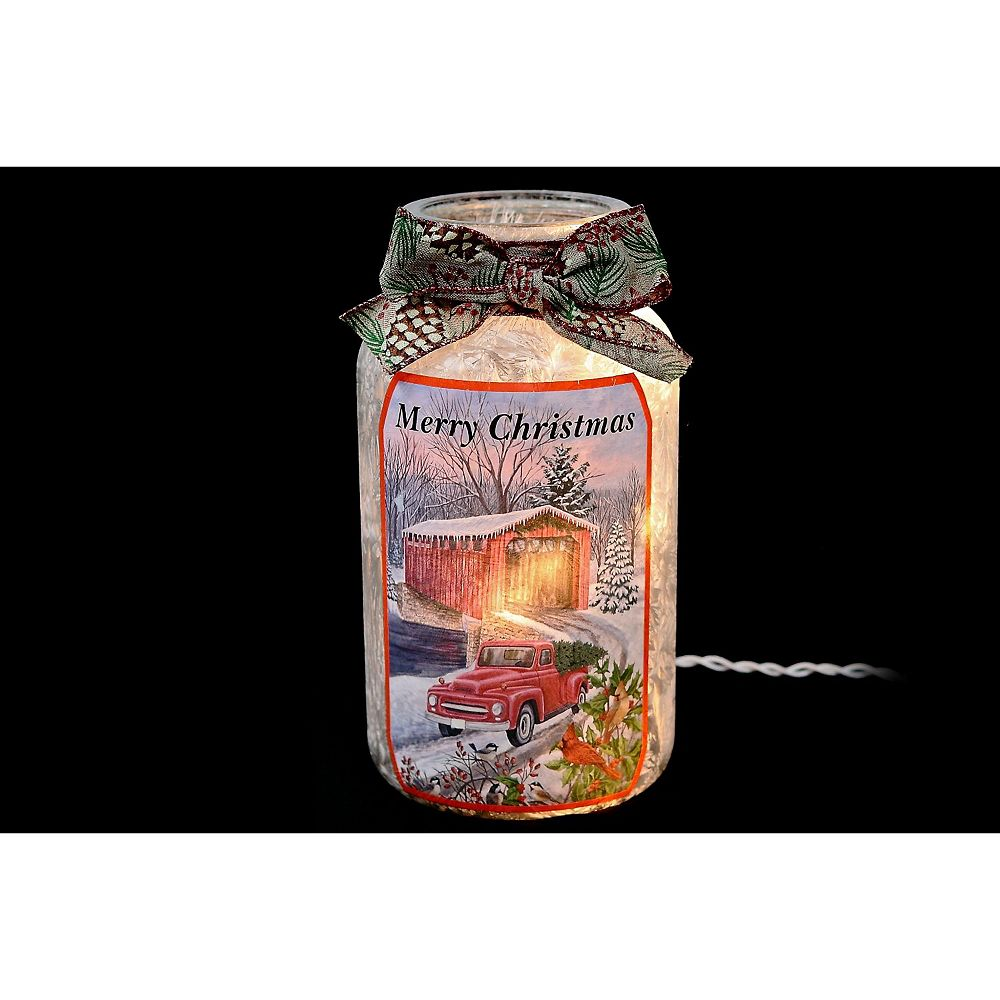 IH Casa Decor Led Frosted Glass Jar With Ribbon (Red Truck)