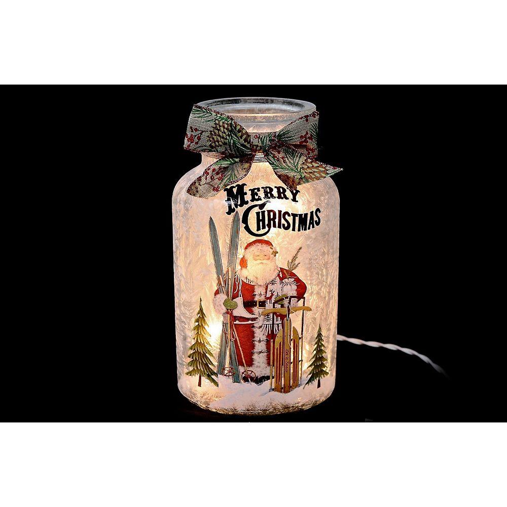 IH Casa Decor Led Frosted Glass Jar With Ribbon (Santa & Reindeer)