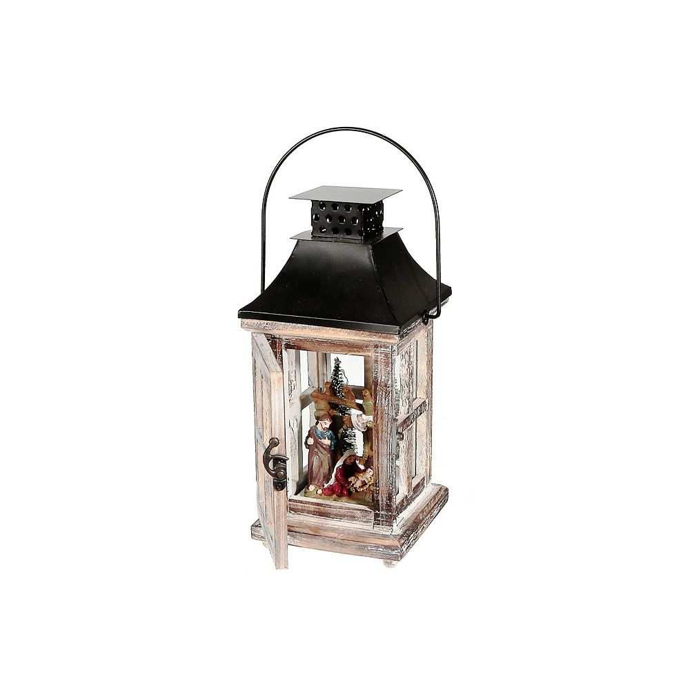 IH Casa Decor Wood And Metal Square Lantern With Led Carolers