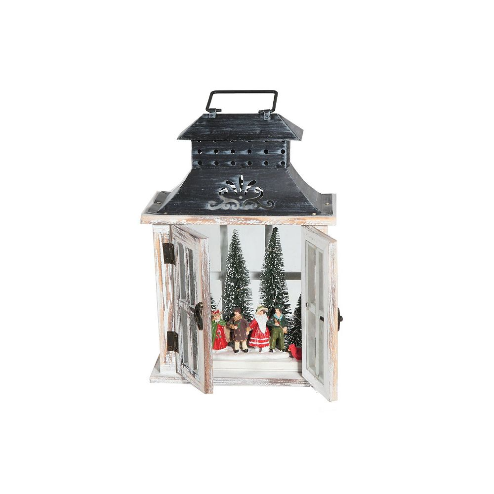 IH Casa Decor Wood And Metal Rect. Lantern With Led Carolers