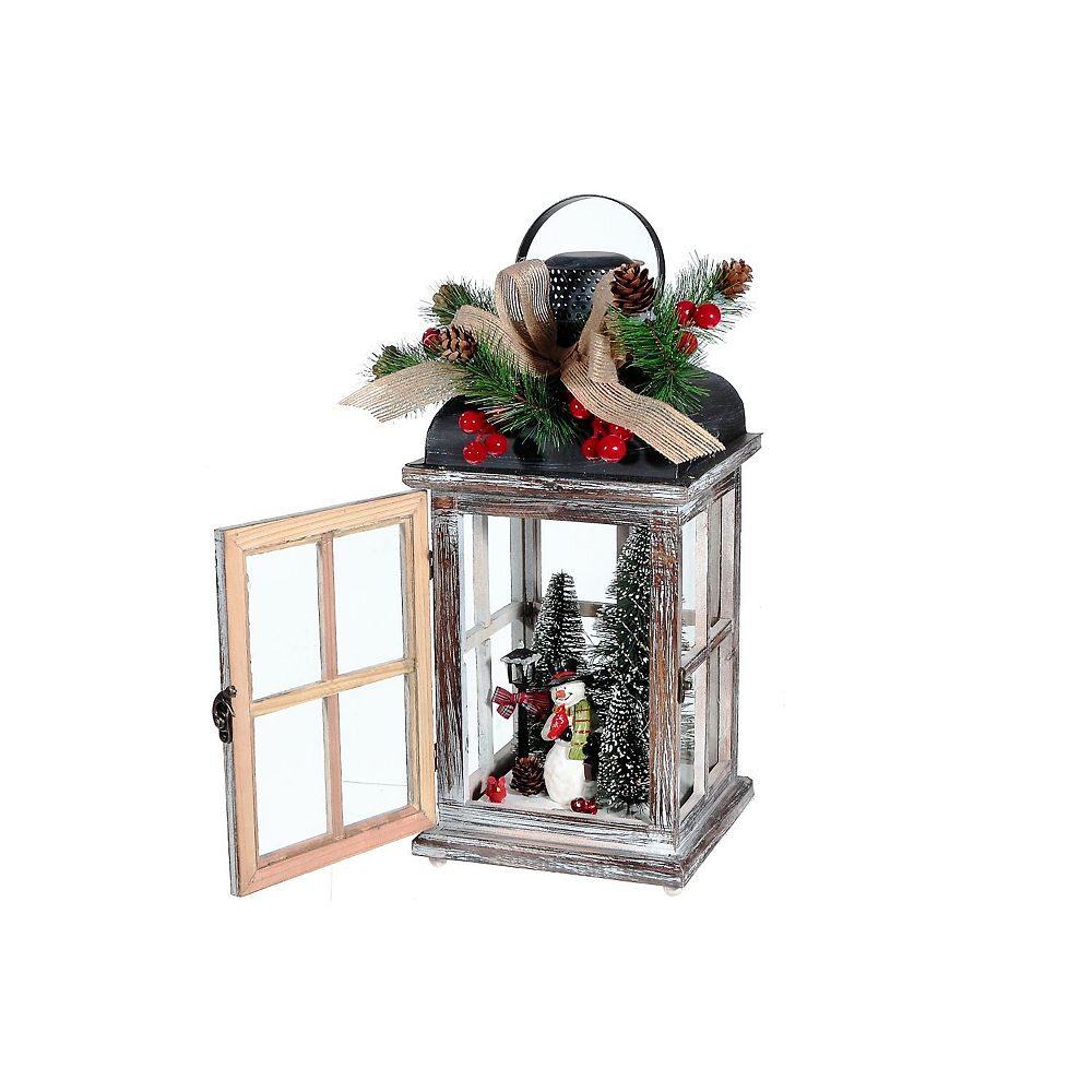 IH Casa Decor Wood And Metal Square Lantern With Led Snowman
