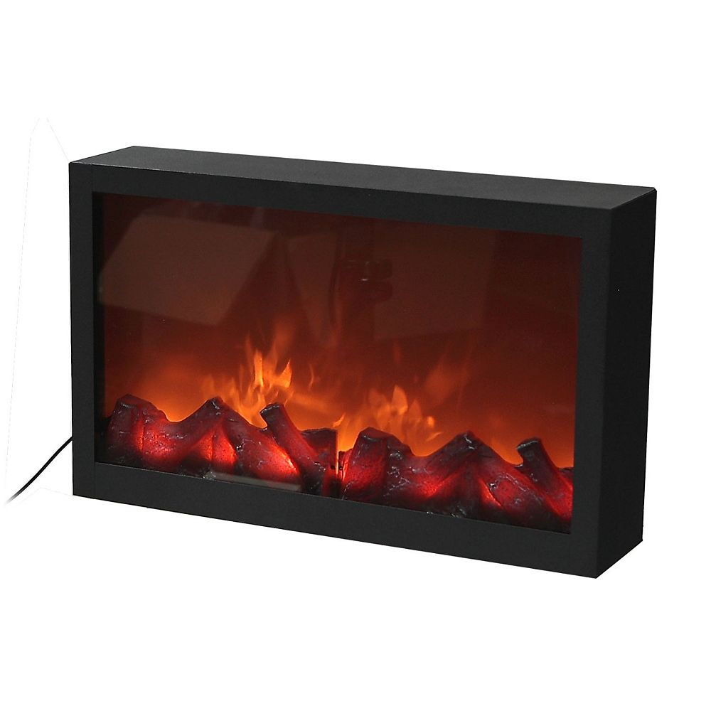 IH Casa Decor Metal Fireplace With Led Flickering Fire (Black)