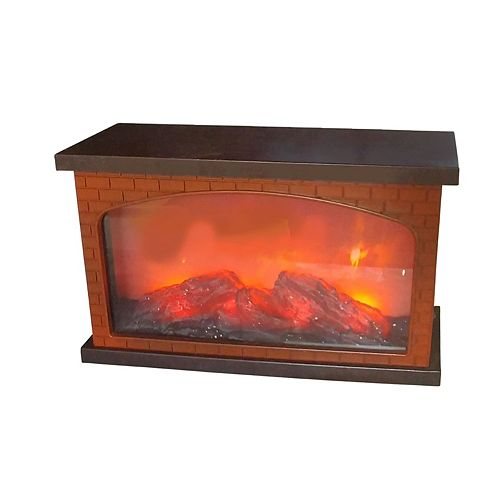 Plastic Brick Fireplace With Usb Led Logs On Fire (Brown)