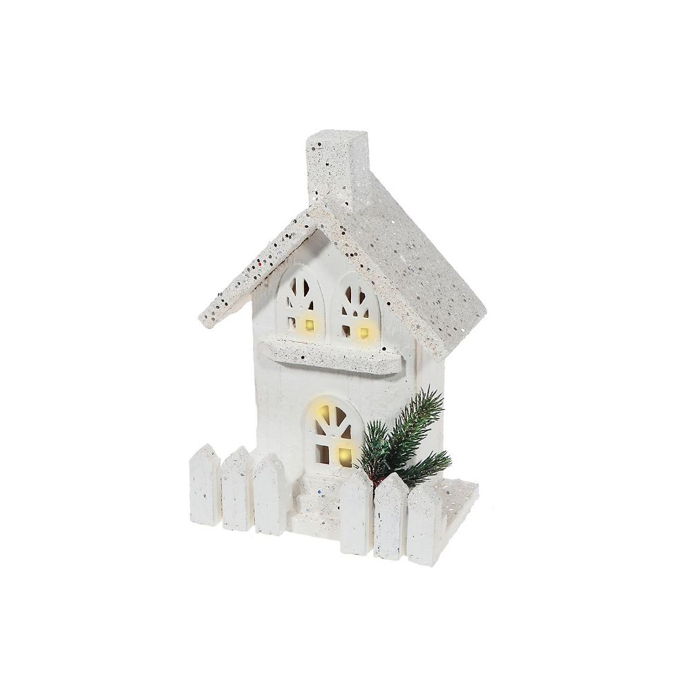 IH Casa Decor snow-covered Led White Wood 3D House With Fence