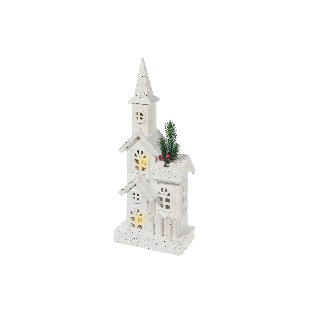 IH Casa Decor snow-covered Led White Wood 3D Church With Fence