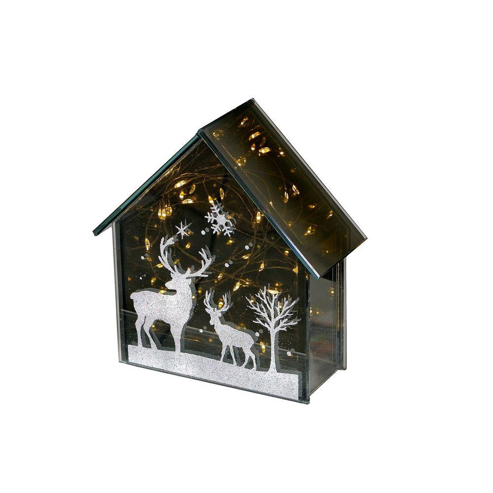 IH Casa Decor Led Glass With Reindeer Print (House)